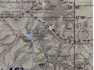 Reduced fragment of topographic map en--jog--250k--sd18-02--(1971)--S012-00_W076-30--S013-00_W075-00; towns and cities Huancayo, Huancavelica, Quilmana, Acobambilla, Yauyos