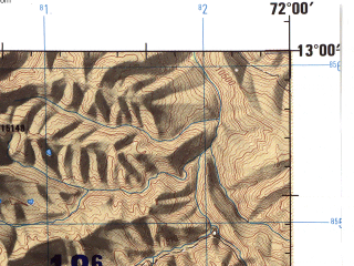 Reduced fragment of topographic map en--jog--250k--sd18-08--(1971)--S013-00_W073-30--S014-00_W072-00; towns and cities Abancay, Cotabambas, Maras, Coyllurqui