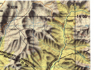 Reduced fragment of topographic map en--jog--250k--sd18-10--(1971)--S014-00_W076-30--S015-00_W075-00; towns and cities Ica, Santiago, La Yapana, Tingue