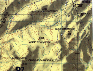 Reduced fragment of topographic map en--jog--250k--sd18-14--(1971)--S015-00_W076-00--S016-00_W074-30 in area of Bahia San Nicolas, Bahia San Juan; towns and cities San Juan, Laguna Grande, Pampa Redonda, Puerto De Lomas