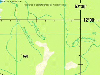 Reduced fragment of topographic map en--jog--250k--sd19-03--(1993)--S012-00_W069-00--S013-00_W067-30; towns and cities Villa-mar, Bosque Espeso, Candelaria
