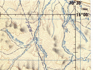 Reduced fragment of topographic map en--jog--250k--sd19-13--(1971)--S015-00_W072-00--S016-00_W070-30 in area of Laguna Lagunillas; towns and cities Ocaruro, Yanque, Cailloma