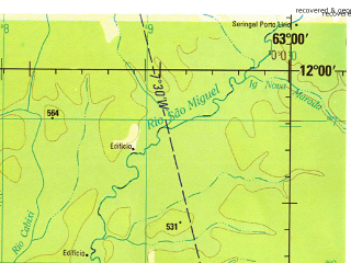 Reduced fragment of topographic map en--jog--250k--sd20-02--(1999)--S012-00_W064-30--S013-00_W063-00; towns and cities Costa Marques, La Horquilla, Posto Fiscal