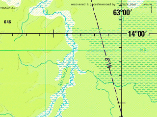 Reduced fragment of topographic map en--jog--250k--sd20-10--(1993)--S014-00_W064-30--S015-00_W063-00 in area of Laguna Huachi; towns and cities Azul, Huachi, La Cruz