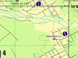 Reduced fragment of topographic map en--jog--250k--sd20-12--(1994)--S014-00_W061-30--S015-00_W060-00; towns and cities La Bahia, Monte Cristo, Puerto Frey