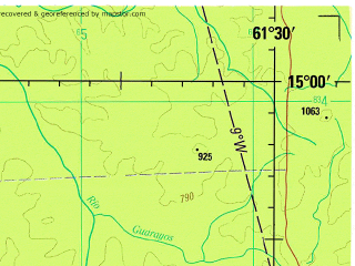 Reduced fragment of topographic map en--jog--250k--sd20-15--(1993)--S015-00_W063-00--S016-00_W061-30; towns and cities Bloomfield, Candaleria, El Mojon