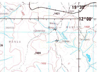 Reduced fragment of topographic map en--jog--250k--sd34-01--(1999)--S012-00_E018-00--S013-00_E019-30; towns and cities Cangonga, Chicavo, Chirindo