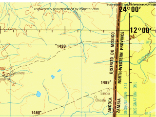 Reduced fragment of topographic map en--jog--250k--sd34-04--(1979)--S012-00_E022-30--S013-00_E024-00; towns and cities Chinde, Samacai