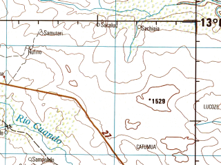 Reduced fragment of topographic map en--jog--250k--sd34-05--(1978)--S013-00_E018-00--S014-00_E019-30; towns and cities Lipalo, Sauchique, Lumeda