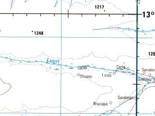 Reduced fragment of topographic map en--jog--250k--sd34-06--(1979)--S013-00_E019-30--S014-00_E021-00; towns and cities Chicuama, Cufuna, Fulai