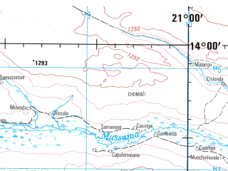 Reduced fragment of topographic map en--jog--250k--sd34-10--(1999)--S014-00_E019-30--S015-00_E021-00; towns and cities Muie, Tepa