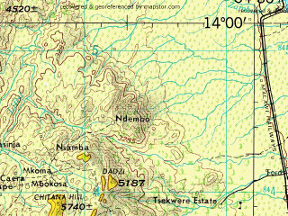 Reduced fragment of topographic map en--jog--250k--sd36-11--(1977)--S014-00_E033-00--S015-00_E034-30; towns and cities Linthipe, Sinyala, Vila Coutinho