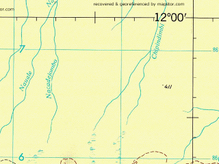 Reduced fragment of topographic map en--jog--250k--sd37-01--(1965)--S012-00_E036-00--S013-00_E037-30; towns and cities Chamba, Cumongue, Metorica