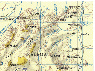 Reduced fragment of topographic map en--jog--250k--sd37-13--(1967)--S015-00_E036-00--S016-00_E037-30; towns and cities Lioma, Namatopanha, Nantuto
