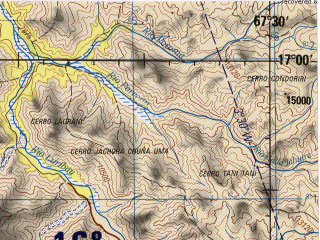 Reduced fragment of topographic map en--jog--250k--se19-07--(1990)--S017-00_W069-00--S018-00_W067-30 in area of Rio Mauri; towns and cities Corocoro, Eucaliptus, Llanquera