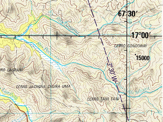 Reduced fragment of topographic map en--jog--250k--se19-07--(1994)--S017-00_W069-00--S018-00_W067-30 in area of Rio Mauri; towns and cities Ayo Ayo, Patacamaya, Rosario