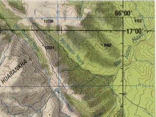 Reduced fragment of topographic map en--jog--250k--se19-08--(1990)--S017-00_W067-30--S018-00_W066-00; towns and cities Cochabamba, Oruro, Quillacollo, Yaco, Bolivar
