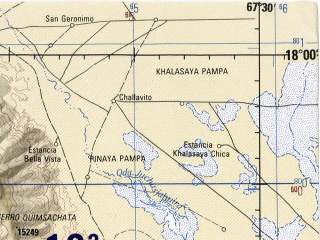 Reduced fragment of topographic map en--jog--250k--se19-11--(1990)--S018-00_W069-00--S019-00_W067-30; towns and cities Romero Pampa, Escara, Estancia Agua Rica