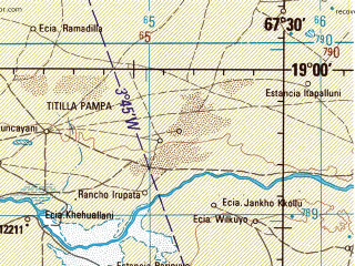 Reduced fragment of topographic map en--jog--250k--se19-15--(1998)--S019-00_W069-00--S020-00_W067-30 in area of Lago De Coipasa; towns and cities Chacoma, Challa Khota, Estancia Chullunquiani