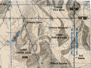 Reduced fragment of topographic map en--jog--250k--se19-16--(1990)--S019-00_W067-30--S020-00_W066-00; towns and cities Condo, Coroma, Estancia Puquirumo