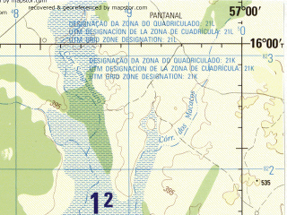 Reduced fragment of topographic map en--jog--250k--se21-02--(1990)--S016-00_W058-30--S017-00_W057-00; towns and cities Caceres, Descalvado, Oncas, Pirizeiro