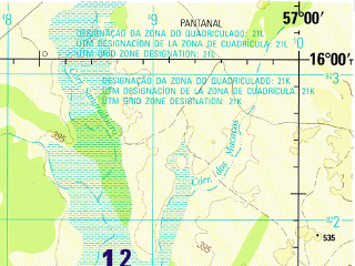 Reduced fragment of topographic map en--jog--250k--se21-02--(1995)--S016-00_W058-30--S017-00_W057-00; towns and cities Caceres, Descalvado, Oncas, Pirizeiro