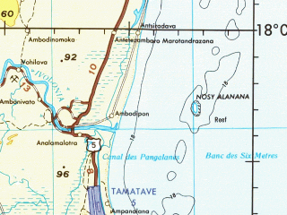 Reduced fragment of topographic map en--jog--250k--se39-09--(1974)--S018-00_E048-00--S019-00_E049-30; towns and cities Toamasina, Ranomafana, Ambila-lemaitso, Bezamby