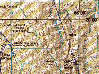 Reduced fragment of topographic map en--jog--250k--sf19-04--(1999)--S020-00_W067-30--S021-00_W066-00; towns and cities Pulacayo, Uyuni, Yura, Rio Grande, Rosario Tazna