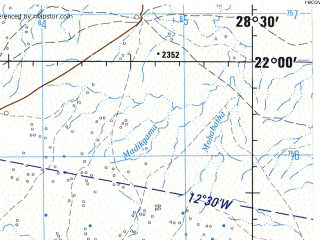 Reduced fragment of topographic map en--jog--250k--sf35-11--(1967)--S022-00_E027-00--S023-00_E028-30; towns and cities Letsheng, Maasstroom, Maunatlala