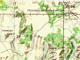 Reduced fragment of topographic map en--jog--250k--sf38-14--(1966)--S023-00_E043-30--S024-00_E045-00 in area of Helodrano Anantsono, Onilahy; towns and cities Ankinany, Maromiandra, Ankiririsa