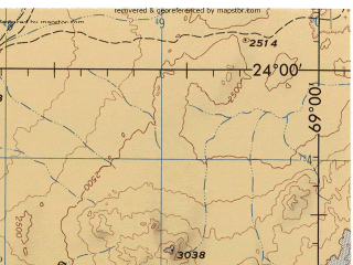 Reduced fragment of topographic map en--jog--250k--sg19-02--(1990)--S024-00_W070-40--S025-00_W069-00; towns and cities Pampa Anita, Paradero Barazarte, Yungay