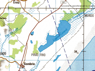 Reduced fragment of topographic map en--jog--250k--sh22-07--(1980)--S029-00_W051-00--S030-00_W049-30 in area of Lago Itapera, Lagoa Dos Quadros, Lago Dos Barros; towns and cities Taquara, Canela, Santo Antonio, Sao Francisco De Paula, Tres Coroas
