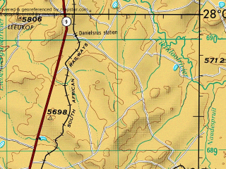 Reduced fragment of topographic map en--jog--250k--sh35-03--(1972)--S028-00_E027-00--S029-00_E028-30 in area of Allemanskraal Dam