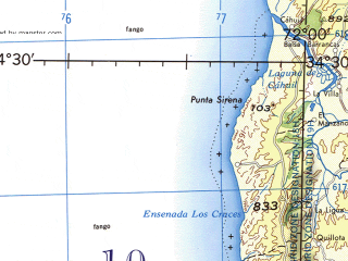 Reduced fragment of topographic map en--jog--250k--si18-16--(1990)--S034-30_W073-00--S036-00_W072-00 in area of Bahia Chanco, Bahia Las Canas, Lago Vichuquen; towns and cities Cauquenes, Constitucion, Loanco, Chanco, Putu