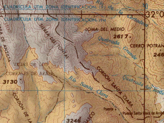 Reduced fragment of topographic map en--jog--250k--si19-02--(1976)--S032-00_W070-30--S033-00_W069-00; towns and cities Rio Colorado, Uspallata, Guardia Vieja