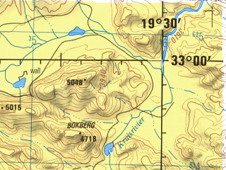 Reduced fragment of topographic map en--jog--250k--si34-05--(1981)--S033-00_E018-00--S034-00_E019-30 in area of Greater Brandvlei Dam, Voelvlei; towns and cities Cape Town, Bellville, Nyanga, Paarl, Hermon