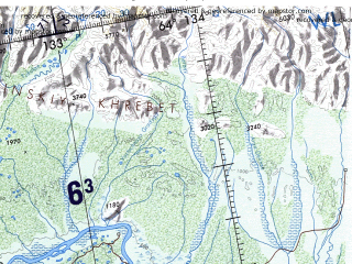 Reduced fragment of topographic map en--onc--001m--d07--(1980)--N064-00_E110-00--N056-00_E132-00 in area of Viljujskoe Vodohranilisce, Vitim, Cara; towns and cities Yakutsk, Mirnyy, Lensk, Aldan, Nyurba