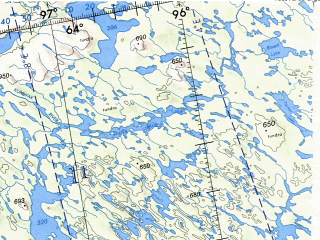 Reduced fragment of topographic map en--onc--001m--d13--(1973)--N064-00_W120-00--N056-00_W098-00 in area of Great Slave Lake, Lake Athabasca, Reindeer Lake