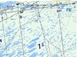 Reduced fragment of topographic map en--onc--001m--e16--(1983)--N056-00_W114-00--N048-00_W097-00 in area of Lake Winnipegosis, Lake Manitoba, Cedar Lake; towns and cities Winnipeg, Edmonton, Calgary, Saskatoon, Regina