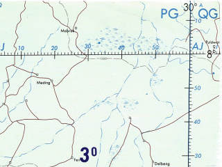 Reduced fragment of topographic map en--onc--001m--l04--(1982)--N008-00_E018-00--N000-00_E030-00 in area of Uele, Aruwimi, Lopori; towns and cities Bangui, Kisangani, Botere, Elimba, Wando