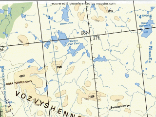 Reduced fragment of topographic map en--tpc--500k--c02-c--(1990)--N068-00_E022-30--N064-00_E036-00 in area of Kandalaksskaja Guba, Tonozero, Oulujarvi; towns and cities Monchegorsk, Oulu, Apatity, Kemi, Kajaani
