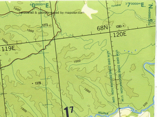 Reduced fragment of topographic map en--tpc--500k--c05-c--(1989)--N068-00_E105-00--N064-00_E119-00 in area of Martha, Morkoka; towns and cities Ekonda, Khabardino, Oldongdo