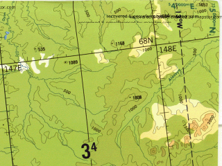Reduced fragment of topographic map en--tpc--500k--c06-c--(1990)--N068-00_E133-00--N064-00_E147-00 in area of Moma, Selennjah, El'gi; towns and cities Ust'-nera, Batagay, Alysardakh, Olchanskiy, Teryut