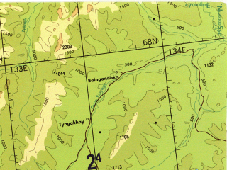 Reduced fragment of topographic map en--tpc--500k--c06-d--(1990)--N068-00_E119-00--N064-00_E133-00 in area of Undjuljung, Djanyska, Soboloh-majan; towns and cities Syuryun-kyuyel, Bagadzha, Khalygras