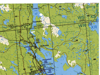 Reduced fragment of topographic map en--tpc--500k--d03-a--(1998)--N064-00_E022-00--N060-00_E034-00 in area of Saimaa, Lake Ladoga, Paijanne; towns and cities Helsinki, Turku, Espoo, Tampere, Lahti