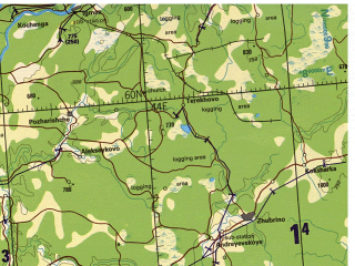 Reduced fragment of topographic map en--tpc--500k--d03-c--(1993)--N060-00_E033-00--N056-00_E044-00 in area of Rybinsk Reservoir, Gor'kovskoje Vodochranilisce, Ozero Kubenskoje; towns and cities Nizhniy Novgorod, Yaroslavl', Ivanovo, Kostroma, Rybinsk