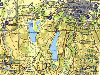 Reduced fragment of topographic map en--tpc--500k--f02-a--(1995)--N048-00_E003-00--N044-00_E011-00 in area of Switzerland, Lac Leman, Boden See; towns and cities Milano, Torino, Lyon, Zurich, Genova