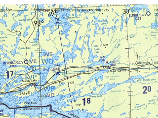 Reduced fragment of topographic map en--tpc--500k--f17-b--(1993)--N049-00_W101-00--N044-30_W093-00 in area of Lower Red Lake, Upper Red Lake, Mille Lacs Lake; towns and cities Minneapolis, St. Paul, Fargo, St. Cloud, Brooklyn Park