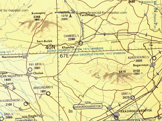Reduced fragment of topographic map en--tpc--500k--g06-a--(1989)--N040-00_E060-00--N036-00_E067-00 in area of Hauz-hanskoe Vodohranilisce, K-l Tudakul; towns and cities Bukhara, Samarkand, Karshi, Chardzhou, Mary