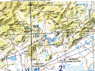 Reduced fragment of topographic map en--tpc--500k--g10-a--(1987)--N040-00_E116-00--N036-00_E123-00 in area of Bo Hai, Laoshan Bay, Sanggou Bay; towns and cities Beijing, Tianjin, Jinan, Dalian, Qingdao